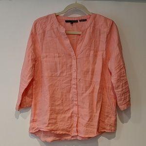 Harve Bernard Pink Linen 3/4 Sleeve Button Blouse